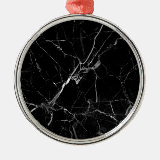 Marble texture Silver-Colored round ornament