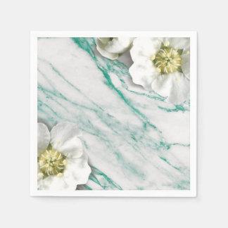Marble Tiffany Emerald White Jasmine Glitter Paper Napkin