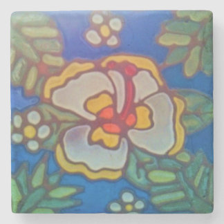 Marble Tile Coaster Catalina Hawaii Aloha Hibiscus