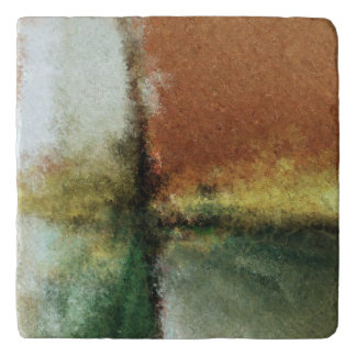 Marble Trivet with a Earth Tone Abstract Pain