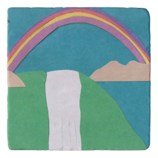 Marble Trivet with Rainbow Scene