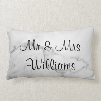 "Marble ""We Did"" Monogrammed Wedding Pillow"