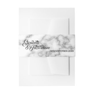 Marble Wedding Invitation Band Invitation Belly Band