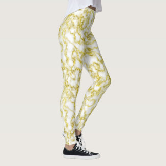 Marble White Gold Sparkles Faux Rock Swirl Pattern Leggings
