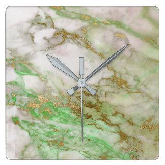Marble White Gray Gold Graphite Carrara Mint Square Wall Clock