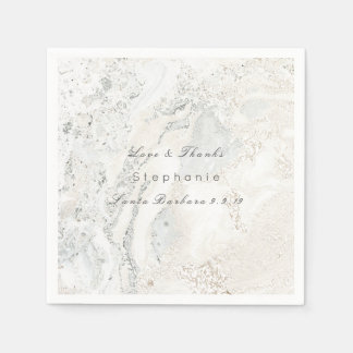 Marble White Gray Minimalism Bridal Wedding Paper Napkin