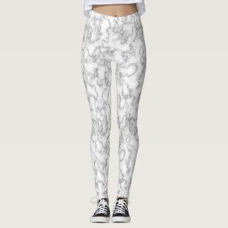 Marble White Gray Rock Swirls Pretty Pattern Leggings