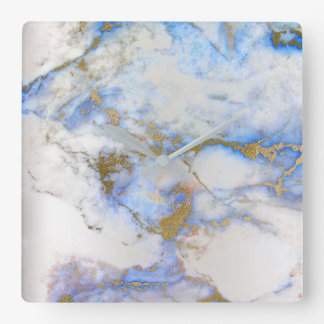 Marble White Gray Saphire Blue Graphite Carrara Square Wall Clock