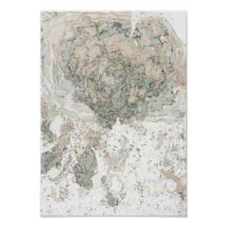 Marble White Green Ivory Beige Abstract Stone Poster