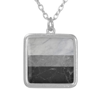 Marble - White, Grey, Black Silver Plated Necklace