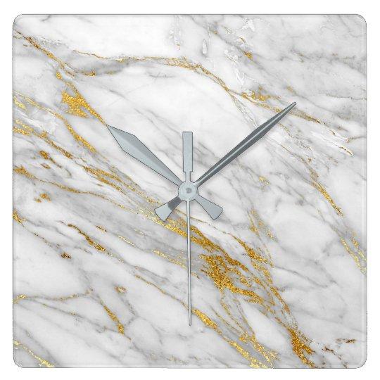 Marble White Grey Golden Blush Graphite Carrara Square Wall Clock