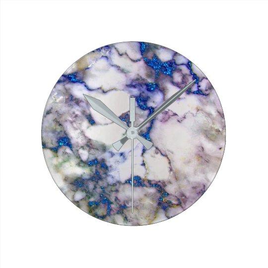 Marble White Grey Saphire Graphite Carrara Round Clock