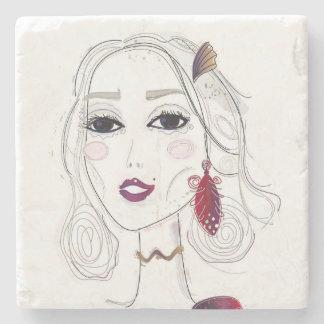 Marble with elegant Elven girl Stone Coaster