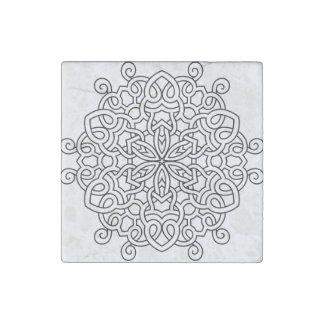 Marble with mandala : black, grey stone magnets