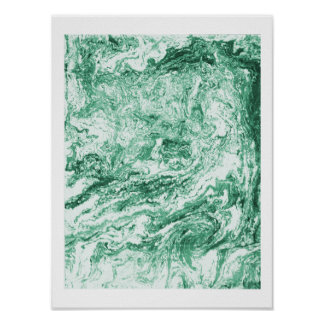 Marbled Abstract Design   Green White Poster