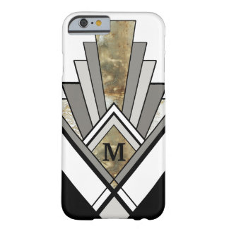 Marbled Art Deco Geometric with Custom Monogram Barely There iPhone 6 Case