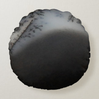 Marbled Black Agate, Cool Natural Stone Unique Round Pillow