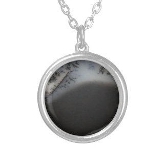 Marbled Black Agate, Cool Natural Stone Unique Silver Plated Necklace