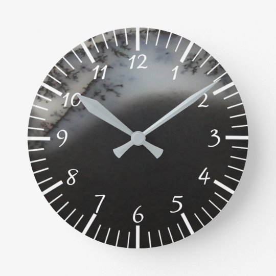 Marbled Black Agate, Cool Natural Stone Unique Wall Clock