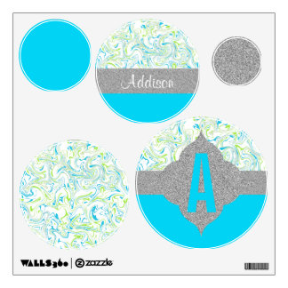 Marbled Blue & Green with Transparent Background Wall Sticker