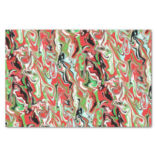 Marbled Christmas tissue paper red green swirls