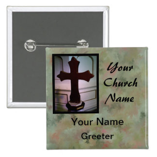 Marbled Church Greeter Nametags with Cross 2 Inch Square Button