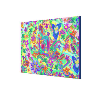 Marbled Colours with Flowers I Canvas Print