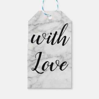 """Marbled gift tag black and white """"with love"""""""