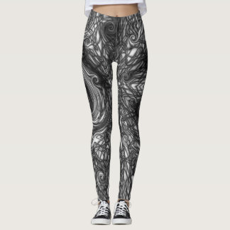 Marbled Graphic White Spiral Chaos Design Leggings