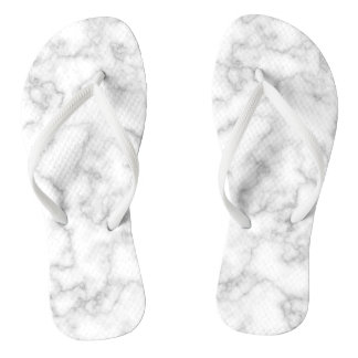 Marbled Gray White Marble Stone Pattern Background Flip Flops
