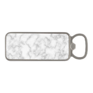 Marbled Gray White Marble Stone Pattern Background Magnetic Bottle Opener