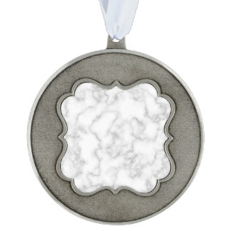 Marbled Gray White Marble Stone Pattern Background Scalloped Pewter Ornament