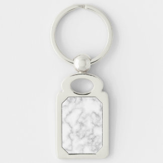 Marbled Gray White Marble Stone Pattern Background Silver-Colored Rectangle Keychain