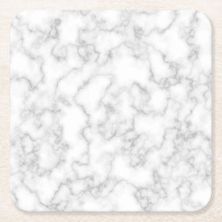 Marbled Gray White Marble Stone Pattern Background Square Paper Coaster