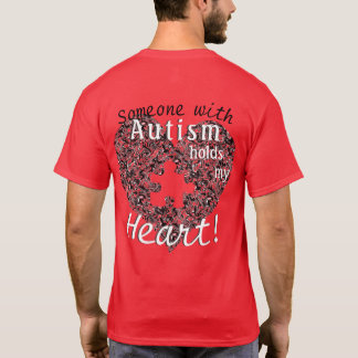 Marbled Heart with Autism Puzzle Cutout & Text T-Shirt