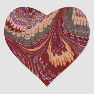 Marbled Paper 1 Motif Heart Sticker