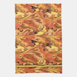Marbled Rainbow Swirled Rust & Gold Kitchen Towel