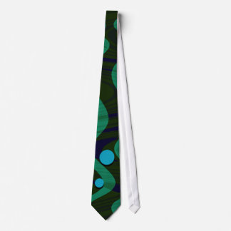 Marbled Retro Blue Green Dot Wave Tie