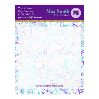 Marbled Teal & Purple with Customizable Background Letterhead Template