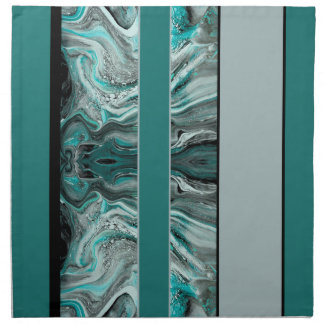Marbled Teal Stripes Napkin
