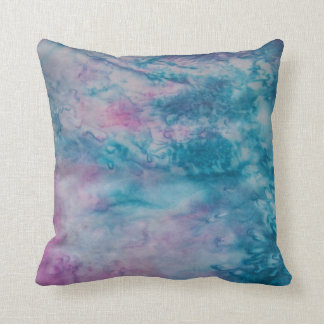 Marbled Watercolor teal salmon pink blue Throw Pillow