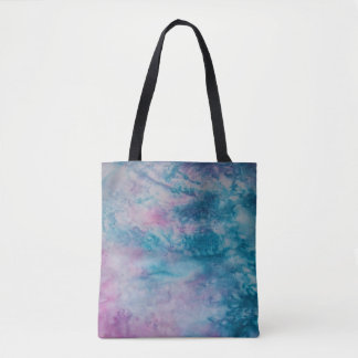 Marbled Watercolor teal salmon pink blue Tote Bag