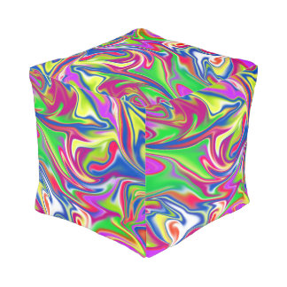 Marbleized Candy Abstract Pattern, Full Print Pouf
