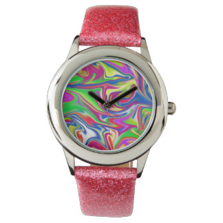 Marbleized Candy, Girls Pink Glitter Watch