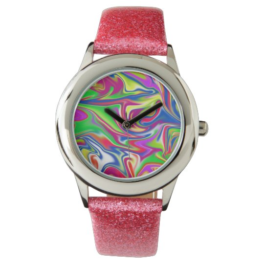 Marbleized Candy, Girls Pink Glitter Watch