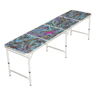 Marbleized Swirls of Black Yellow Pink Blue Etc. Beer Pong Table
