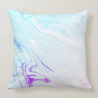 Marbling pink and turquoise paper design, marbled throw pillow