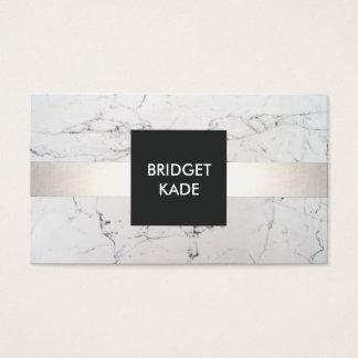 Marbre blanc rayé d'argent chic de dessinateur cartes de visite