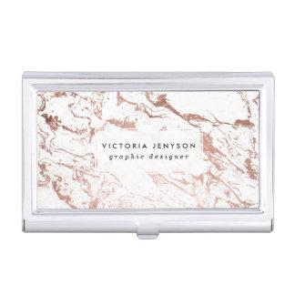 Marbre rose de blanc d'or de faux chic moderne boîtier pour cartes de visite