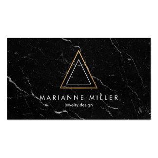 Marbre rose énervé de noir de logo de triangle carte de visite standard